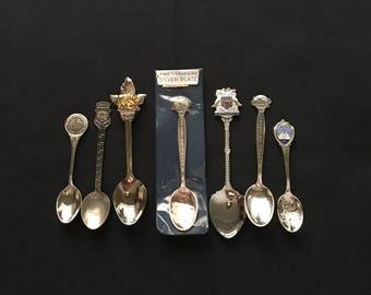 Lot of 7 Souvenir Spoons New York Worlds Fair 1964
