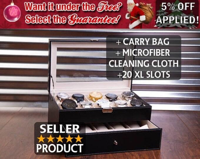 20 Slot Watch Box Case, Sunglass Watch Storage, Watches Organizer, Engraved and Personalized Jewelry Box, Men's Christmas Gift, Groomsman