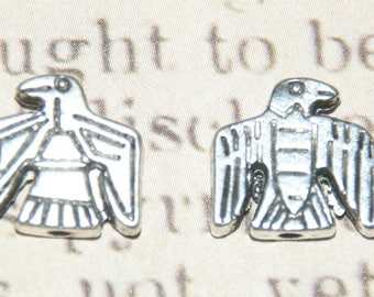 2 beads silver-plated 12x13x4mm Eagle
