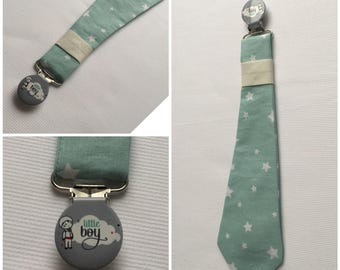 Pacifier clip tie in cotton fabric green water printed white stars