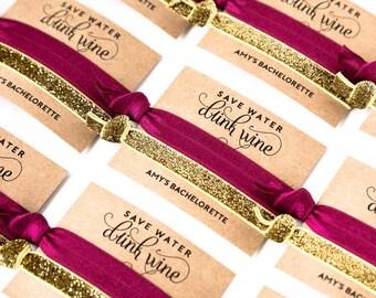 YOU DESIGN Hair Tie Favors   Bachelorette Party Favors, Wedding + Bridal Shower Favors, Personalized Hair Tie Favors, Gold Glitter Sparkle