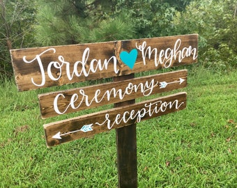 Custom Directional Wood Wedding Sign - Reception Wedding Sign - Custom Event Wood Sign - Rustic Wedding Sign