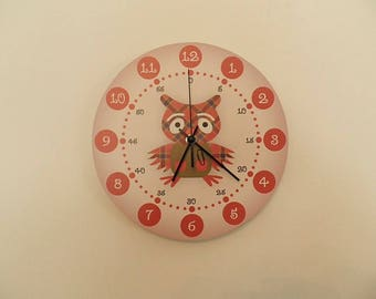 Scottish owl clock , retro wall clock,Housewares, coloured, boys room  coloured  round or square  striped nursery décor