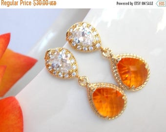 SALE Wedding Jewelry, Cubic Zirconia and Orange Earrings, Bridal Jewelry, Tangerine, Carnelian, Gold Earrings Post, Bridesmaids Gifts,Dangle