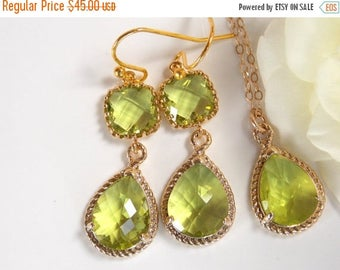 SALE Bridesmaid Jewelry Set, Apple Green Earrings and Necklace Set, Peridot, Green Apple, Green, Gold Filled, Wedding Set, Dangle, Pendant S
