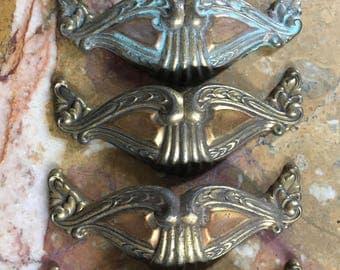 Seven large vintage brass ornate dresser pulls, art deco style, nice patina, furniture hardware