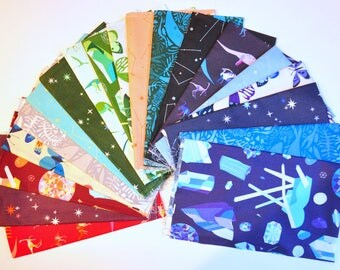 Fabric destash  Natural History by Lizzy House of Andover fabrics 100% Cotton Quilting complete  collection of  19 Fat Quarters