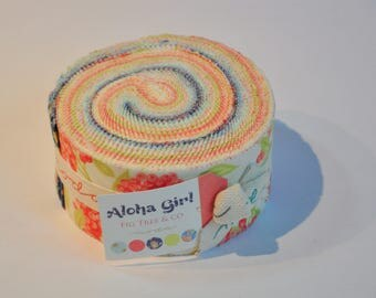 Jelly roll Aloha Girl by Fig Tree & CO of Moda Quilt Fabric  cotton Out of print hard to find