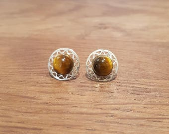 Earrings Tiger eye chips