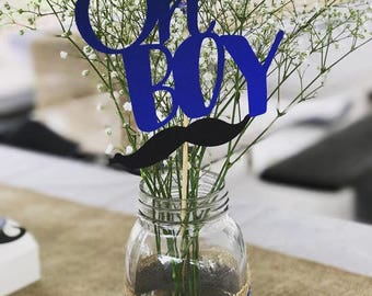 Oh boy centerpiece stick with mustache (set of 10)