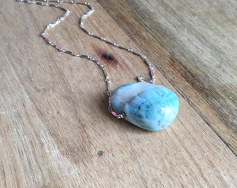 Larimar Necklace - Raw Larimar Necklace Larimar Jewelry - Larimar - Stone Necklace - Larimar Pendant - Silver Larimar Necklace