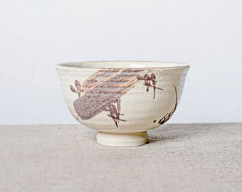 Handmade kiln fired brush painted Japanese ceramic stoneware chawan tea bowl