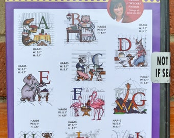 Hungry Animals Alphabet  Embroidery Designs CD