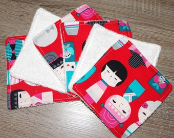 6 wipes doll GEISHA - KAKOSHI red, pink and blue face and body for baby girl make-up removal of MOM Eponge