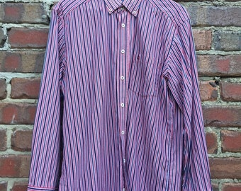 ON SALE Vintage Striped Long Sleeve Men's Shirt Red, Blue and White