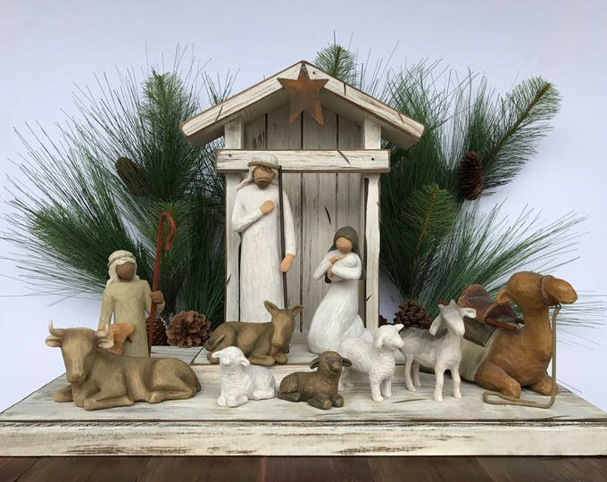 STABLE CRECHE for Demdaco Willow Tree Angels Nativity, Distressed Barn Wood, Christmas Decor, Burgundy White Green Manger Stables fits Angel
