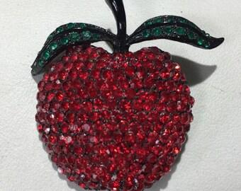 WEISS Red Apple Form Rhinestone Brooch
