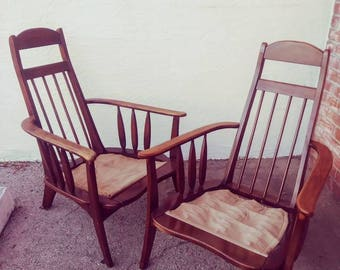 Mid Century Modern PAIR of Pearsall Influence Chairs Vintage Circa 1960