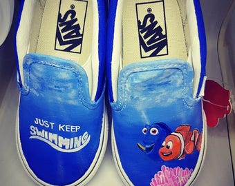 Finding Nemo/Finding Dory Inspired Custom Painted Shoes Vans/Converse Size US Toddler 8