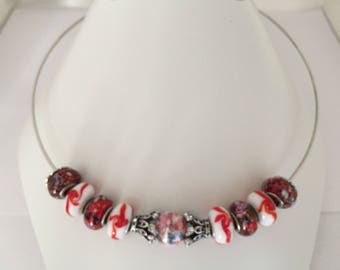 Red and white torque with glass beads necklace