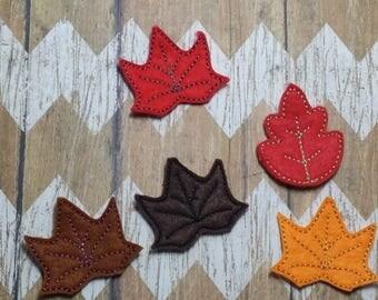 Set of 4 UNCUT Leaves and Trees Felties