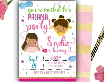Pyjama Party Geburtstag Einladung Pyjama Party Einladung Pyjama Party  Einladen