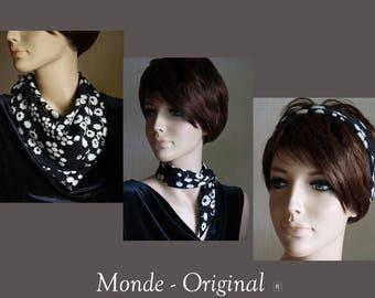 Black white double headband bandana scarf