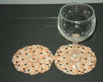 SET of 6 DOILIES coasters handmade crochet Orange cotton