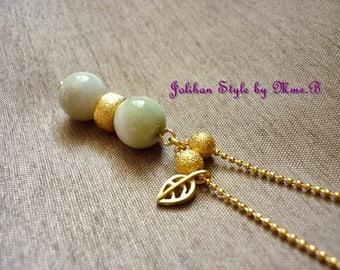 "Long necklace ""8"" - sky - jade"