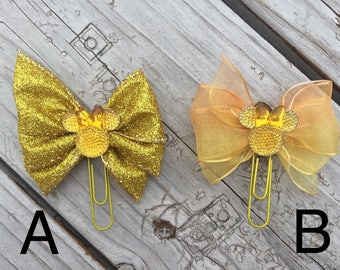 Sparkling Yellow Minnie Mouse Disney Planner Bow Clip
