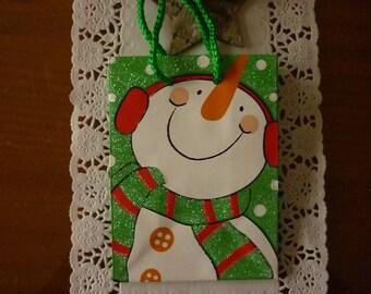 "Mini purse gift card theme ""Christmas"" a beautiful snowman."