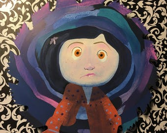 Coraline painted on a circular saw blade