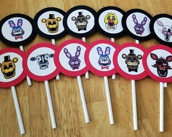 FLASH SALE! - 12 FNAF Five Nights at Freddy's Cupcake Toppers