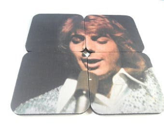 Rubber Barry Manilow Drink Coaster Set, Barry Manilow, Puzzle Coaster Set, 1970s Pop Music, Drinking, Retro, Soft Rock, Made By Mod.
