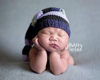 Newborn Knot Hat/Stripes/Boy/Girl/Photo Prop/Knitted-MADE TO ORDER