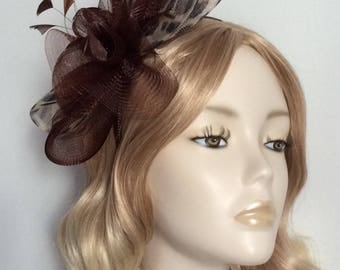 LEOPARD and CHOCOLATE BROWN Crin Fascinator, With feathers, on headband