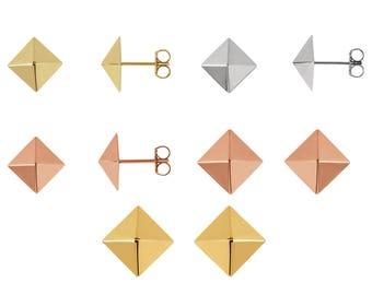 Petite 14K Gold Trendy Pyramid Stud Earrings, 14K Rose Gold, 14K White Gold or 14K Yellow Gold, 1.77 Grams, 7.8mm x 7.8 mm