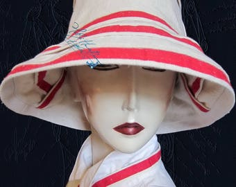 chic summer hat, metis linen sand beige and red, 60-61-XL, elegant woman a retro, Sun Hat