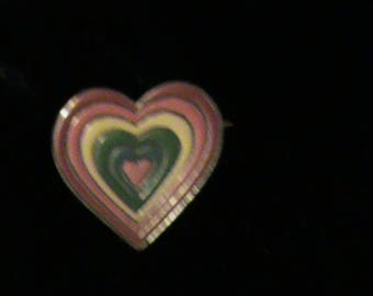 Enameled Heart Pin on base metal red-orange-yellow-green-blue-orange colors