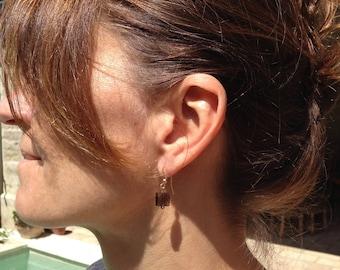 High range plated fancy gold smoky quartz earrings
