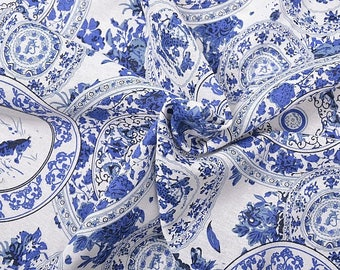 10 X fabric cotton linen white blue Qinghuaci round