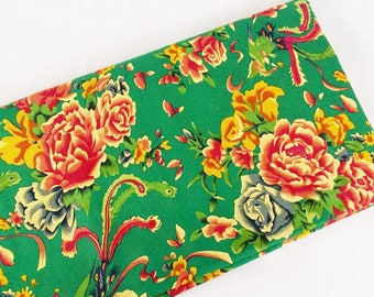 2 m fabric Chinese Peony clothing green cotton linen laohua