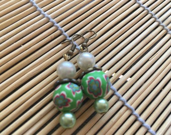 Earrings ' green ethnic earrings