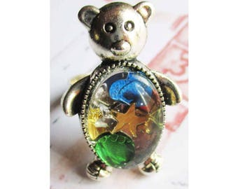 """Teddy bear Silver - """"Glitter and sequins inlays"""" glass Cabochon ring"""