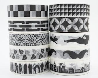 SALE!!Black and White Washi Tape/Japanese Washi Tape / Deco tape TZ1986