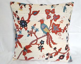 Kantha(handmade) Printed Bird Cotton Fabric Cushion Cover...!!!