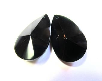 TEARDROP FACETED CRYSTAL BLACK 22/38 MM