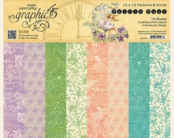 Graphic 45 Fairie Dust 12x12 Patterns and Solids Paper Pad, SC007756