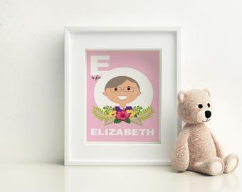 Nursery Wall Art - Elizabeth Warren  - E is for Elizabeth