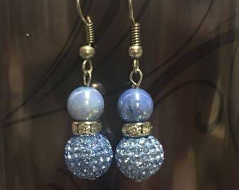 Sweet snowman blue beaded earrings.